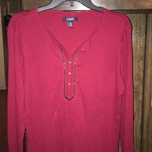 Chaps Red with Beads Henley